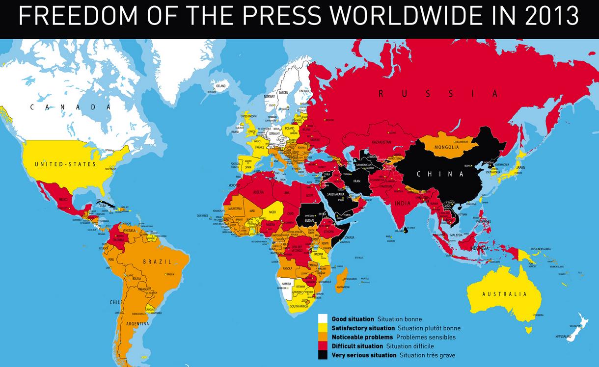 Mapa - Libertad de prensa en el mundo en 2013