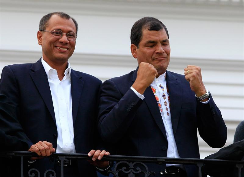 Jorge Glass (vicepresidente) y Rafael Correa (presidente). Foto EFE