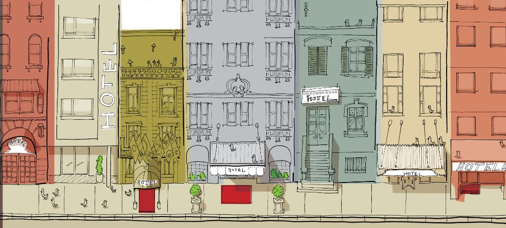Hoteles. Ilustración: Ignacio Schiefelbein
