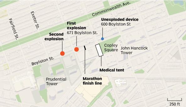 Mapa de la explosión. Fuente Boston Globe